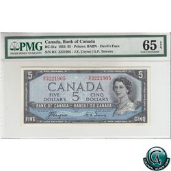 BC-31a 1954 Bank of Canada Devil's Face $5, Coyne-Towers, S/N: B/C3221905 PMG Certified Gem UNC-65 E