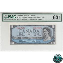 BC-31a 1954 Bank of Canada Devil's Face $5, Coyne-Towers, S/N: B/C3517070 PMG Certified CUNC-63 EPQ!
