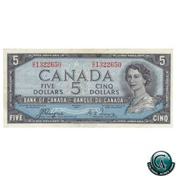 BC-31a 1954 Bank of Canada $5, Devil's Face, Coyne-Towers, S/N: C/C1322650, VF-30 (pressed)