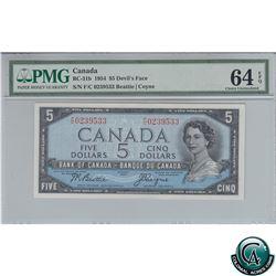 BC-31b 1954 Bank of Canada Devil's Face $5, Beattie-Coyne S/N: F/C0239533 PMG Certified CUNC-64 EPQ!