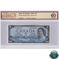 BC-31b 1954 Bank of Canada Devil's Face $5, Beattie-Coyne S/N: T/C1495240, BCS Certified UNC-60 Orig