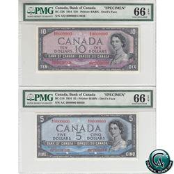 BC-31S & BC-32S 1954 Bank of Canada Devil's Face SPECIMEN $5 & $10 Matching Set (#B0039 & C0039). Bo