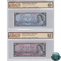 BC-31S & BC-32S 1954 Bank of Canada Devil's Face SPECIMEN $5 & $10 Matching Set (#B0040 & C0040). Bo