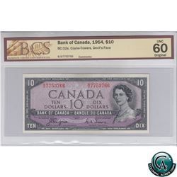 BC-32a 1954 Bank of Canada Devil's Face $10. Coyne-Towers, S/N: B/D7753766 BCS Certified UNC-60 Orig
