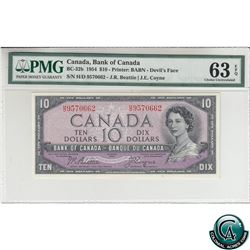 BC-32b 1954 Bank of Canada Devil's Face $10, Beattie-Coyne, S/N: H/D9570662 PMG Certified CUNC-63 EP