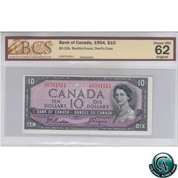 BC-32b 1954 Bank of Canada Devil's Face $10, Beattie-Coyne, S/N: I/D0701511 BCS Certified CUNC-62 Or