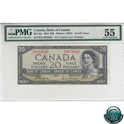 BC-33a 1954 Bank of Canada Devil's Face $20. Coyne-Towers, S/N: B/E6870647 PMG Certified AU-55.