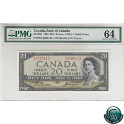 BC-33b 1954 Bank of Canada Devil's Face $20. Beattie-Coyne, S/N: B/E8595112 PMG Certified CUNC-64.