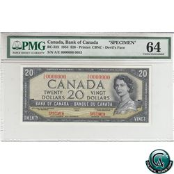 BC-33S 1954 Bank of Canada Devil's Face SPECIMEN $20, S/N: A/E 0000000 (#0053), PMG Certified Choice