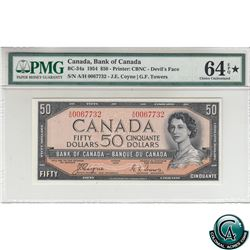 BC-34a 1954 Bank of Canada Devil's Face $50, Coyne-Towers, S/N: A/H0067732 PMG Certified Choice UNC-
