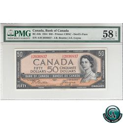 BC-34b 1954 Bank of Canada Devil's Face $50, Beattie-Coyne, S/N: A/H2036837 PMG Certified Choice AU-
