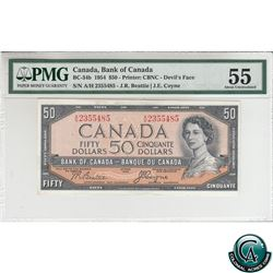 BC-34b 1954 Bank of Canada Devil's Face $50, Beattie-Coyne S/N: A/H2355485, PMG Certified AU-55.