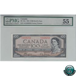 BC-35a 1954 Bank of Canada Devil's Face $100, Coyne-Towers, S/N: A/J1626252, PMG AU-55