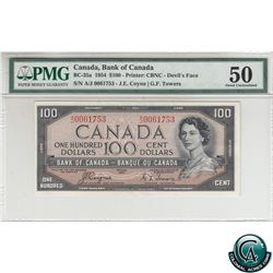 BC-35a 1954 Bank of Canada Devil's Face $100, Coyne-Towers, S/N: A/J0061753 PMG Certified AU-50.