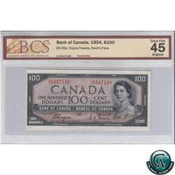 BC-35a 1954 Bank of Canada Devil's Face $100, Coyne-Towers, S/N: A/J0447148 BCS Certified EF-45 Orig