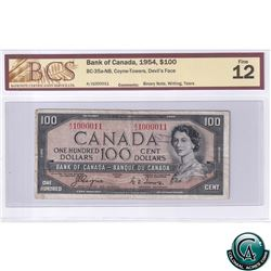 BC-35a-N8 Binary Note 1954 Bank of Canada $1, Coyne-Towers, Devil's Face, AJ1000011, BCS F-12 (writi