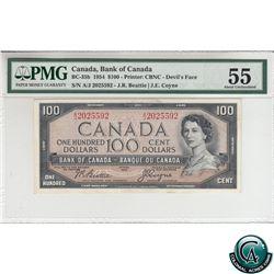 BC-35b 1954 Bank of Canada Devil's Face $100, Beattie-Coyne S/N: A/J2025592 PMG Certified AU-55.