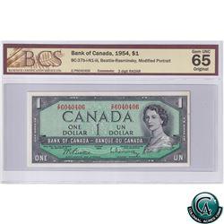 BC-37b-i-N1-iii 1954 Bank of Canada $1, Beattie-Rasminsky, ZP6040406, 3 Digit RADAR, Modified Portra