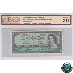 BC-37cA 1954 Bank of Canada $1, Bouey-Rasminsky, Replacement, *V/V4262500, Modified Portrait, BCS VF
