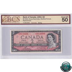 BC-38cA 1954 Bank of Canada Replacement $2, Bouey-Rasminsky S/N: *Z/Z8144500 BCS AU-50 Writing *RARE