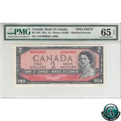BC-38S 1954 Bank of Canada Modified SPECIMEN $2, S/N: A/B0000000 PMG Certified Gem UNC-65 EPQ (#A006