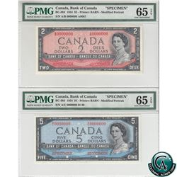BC-38S & BC-39S 1954 Bank of Canada Modified SPECIMEN $2 & $5, Both PMG Certified GEM UNC-65 EPQ! A
