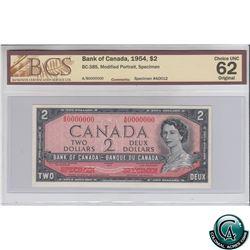 BC-38S 1954 Bank of Canada Modified SPECIMEN $2, #A0012. S/N: A/B0000000 BCS Certified CUNC-62 Origi