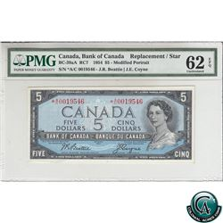 BC-39aA 1954 Bank of Canada Replacement $5, Beattie-Coyne, S/N: *A/C0019546 PMG Certified UNC-62 EPQ