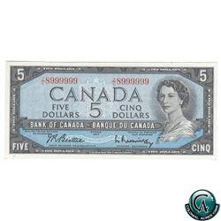 BC-39b 1954 Bank of Canada $5, Beattie-Rasminsky, S/N: Z/C8999999. Neat Number! Note has a pre-cut c