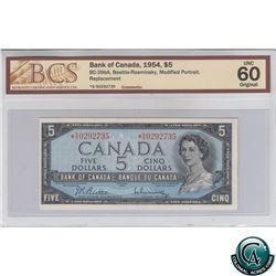 BC-39bA 1954 Bank of Canada Modified Replacement $5, Beattie-Rasminsky, S/N: *S/S0292735 BCS Certifi