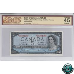 BC-39bA 1954 Bank of Canada Modified Replacement $5, Beattie-Rasminsky, S/N: *N/S0224789 BCS Certifi
