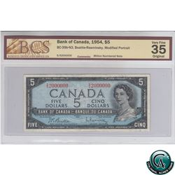 BC-39b-N3 1954 Bank of Canada Modified $5 'Million Numbered Note' Beattie-Rasminsky, S/N S/S2000000