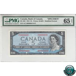 BC-39S 1954 Bank of Canada Modified SPECIMEN $5, S/N: A/C0000000 PMG Certified Gem UNC-65 EPQ! (#B14