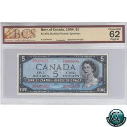 BC-39S 1954 Bank of Canada Modified SPECIMEN $5, #B165, S/N: A/C0000000 BCS Certified CUNC-62 Origin