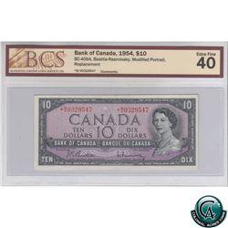 BC-40bA 1954 Bank of Canada $10, Beattie-Rasminsky, Modified Portrait, Replacement, *BV 0329547, BCS