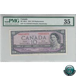 BC-40bA 1954 Bank of Canada Replacement $10, Beattie-Rasminsky, S/N: *U/T0234573 PMG Certified Choic