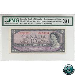 BC-40bA 1954 Bank of Canada Modified Replacement $10, Beattie-Rasminsky, S/N *B/V0281194 PMG Certifi