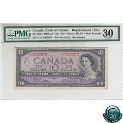 BC-40bA 1954 Bank of Canada Modified Replacement $10, Beattie-Rasminsky, S/N *U/T0255673 PMG Certifi