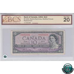BC-40bA 1954 Bank of Canada Replacement $10, Beattie-Rasminsky, S/N: *U/T0251586 BCS VF-20. Rare Not