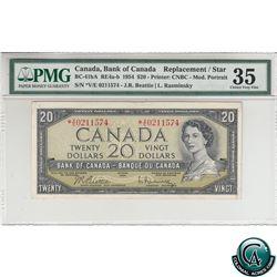 BC-41bA 1954 Bank of Canada Modified Replacement $20, Beattie-Rasminsky, S/N: *V/E0211574 PMG Certif