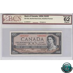 BC-43b 1954 Bank of Canada $100, Beattie-Rasminsky, B/J4082647, Modified Portrait, Changeover, BCS C