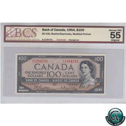 BC-43b 1954 Bank of Canada $100, Beattie-Rasminsky, B/J1384781, Modified portrait, BCS AU-55, Origin