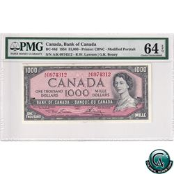 BC-44d 1954 Bank of Canada Modified $1000, Lawson-Bouey, S/N: A/K0974312, PMG Certified CUNC-64 EPQ