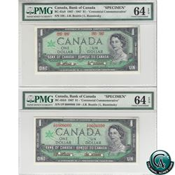 BC-45aS & BC-45Bs 1967 $1 Matching SPECIMEN Bank Note Set (#188). Both PMG Certified CUNC-64 EQP! A