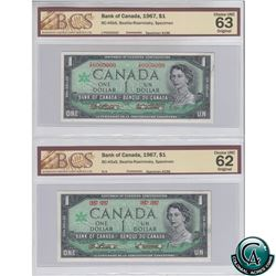Set of 2 Matching 1967 SPECIMEN Notes (Set#196). Both Notes BCS Certified, BC-45aS (CUNC-62) & BC-45