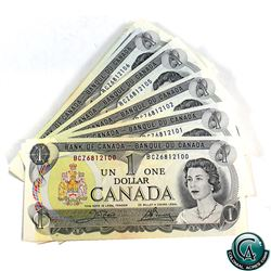 BC-46 1973 Bank of Canada $1 Bundle of 100 Notes in Sequence, Crow-Bouey, S/N: BCZ6812100-6812199. *