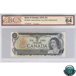 BC-46aA 1973 Bank of Canada $1, Lawson-Bouey, Two Letter, Replacement, *GL3559444, BCS CUNC-64 Origi