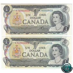 BC-46aA 1973 Bank of Canada $1, 2 Replacement Notes with matching Serial Numbers. *FA & *FN both wit