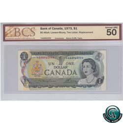 BC-46aA 1973 Bank of Canada Replacement $1, Lawson-Bouey, S/N: *AA8965999, BCS Certified AU-50. *RAR