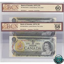 BC-46a-E25a-i. Pair of 1973 Consecutive Bank of Canada $1, Lawson-Bouey, Two Letter, MM492117 & MM74